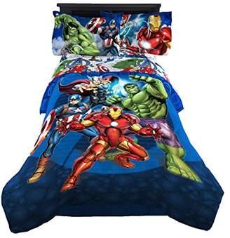 Iron Man Marvel Avengers Blue Circle Twin/Full Comforter - Super Soft Kids Reversible Bedding features