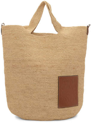 Loewe Beige and Tan Large Raffia Slit Bag