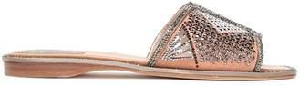 Rene Caovilla Rene' Caovilla Crystal-embellished Laser-cut Suede Slides