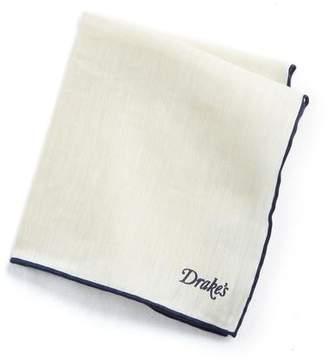Drakes Drake's Tipped Linen Cashmere Pocket Square