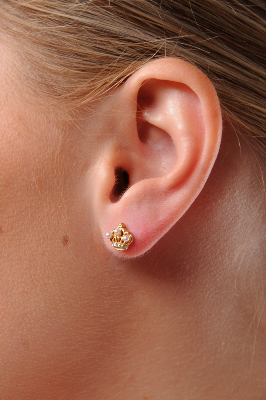 Juicy Couture Puffed Gold Crown Stud Earrings