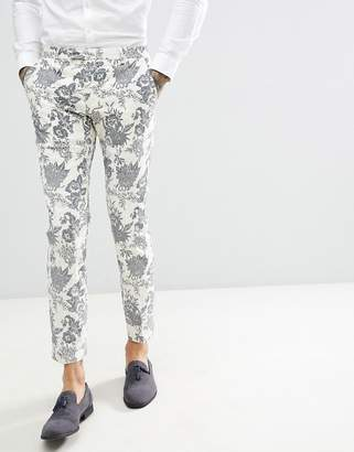 Twisted Tailor wedding super skinny suit pants in cream flocked linen
