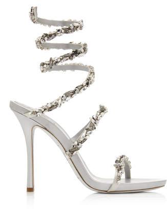 Rene Caovilla Crystal-Embellished Satin Snake-Coil Sandals Size: 36