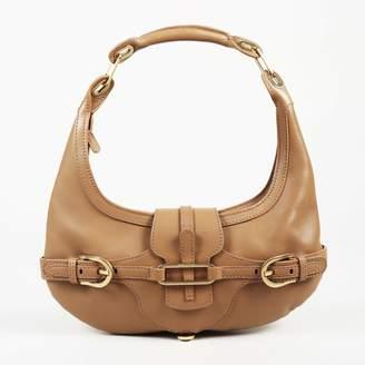 "Fendi Navy Tan Leather Wood Plexiglass Selleria ""Firenze"" Frame Tote Bag"