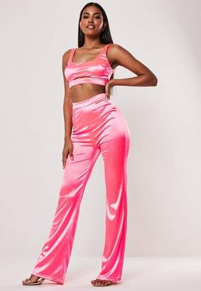 995cf88a99ad Missguided Neon Pink Stretch Satin Top And Trousers Co Ord Set, Pink
