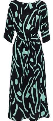 Diane von Furstenberg Gingham Silk Midi Wrap Dress