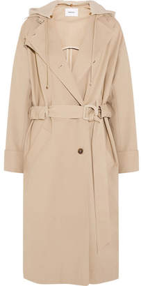 Dakota Nanushka Belted Hooded Cotton-blend And Fleece Parka - Beige