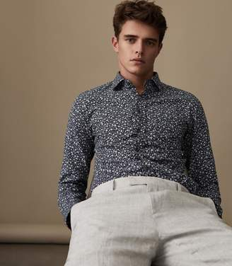 Reiss CECI FLORAL PRINTED SHIRT Navy