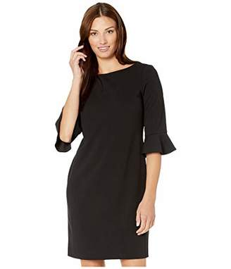 Nine West Women's 3/4 Ruffle Sleeve A-Line Dress