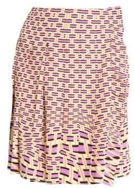 Prada Crepe De Chine Weave Print Pleated Skirt