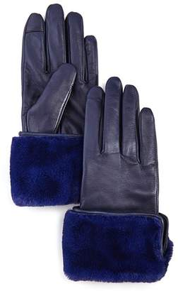 Echo Faux Fur-Cuff Leather Tech Gloves
