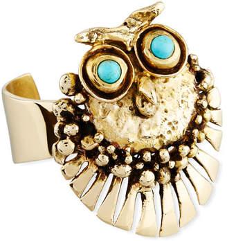 Lisa Eisner Jewelry Bronze Owl Cuff Bracelet with Turquoise