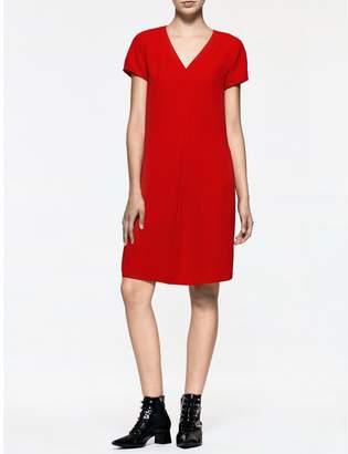 Calvin Klein platinum crepe short sleeve dress