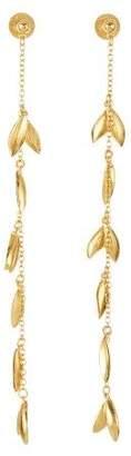Oscar de la Renta Gold Dot Leaf Chain Earrings