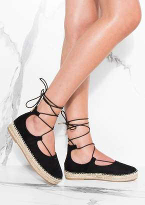 94a2497b4770 at Missy Empire · Missy Empire Missyempire Honor Black Lace Up Espadrilles  Sandals