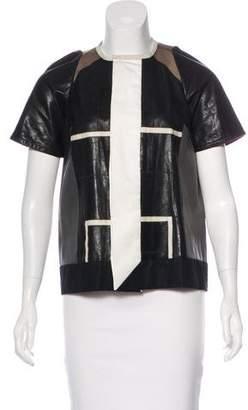 Rick Owens Short Sleeve Leather Jacket