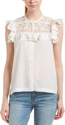 Rebecca Taylor Lace Yoke Silk Top