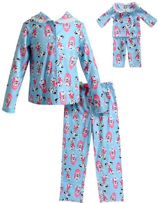 Dollie & Me Girls 4-14 Dalmatian Top & Bottoms Pajama Set