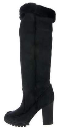 Fendi Suede Fur-Trimmed Boots