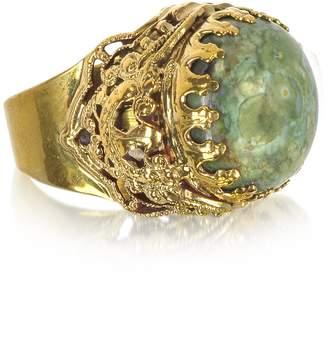 Medici Sara Bencini Polished Brass w/Green Jade Round Cabochon The Ring