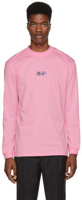 MSGM Pink Graffiti Mock Neck T-Shirt