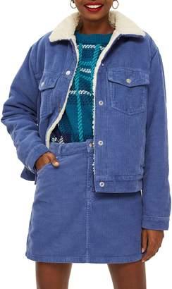 Topshop Cotton Corduroy & Faux Shearling Jacket