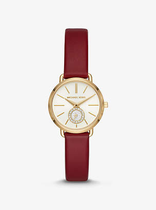 Michael Kors Petite Portia Gold-Tone And Leather Watch