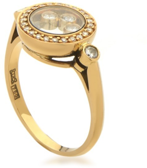ChopardChopard 18K Yellow Gold Happy Diamonds Womens Floating Diamond Ring Size 6.5
