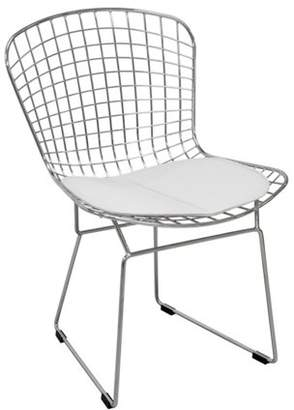 Mod Made Modern Chrome Wire Dining Side Chair with Faux Leather Seat Cushion (White)