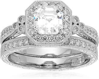 Swarovski Amazon Collection Sterling Silver Zirconia Asscher Cut Antique Ring Set, Size 9