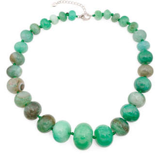 Sterling Silver Green Agate Gum Ball Necklace