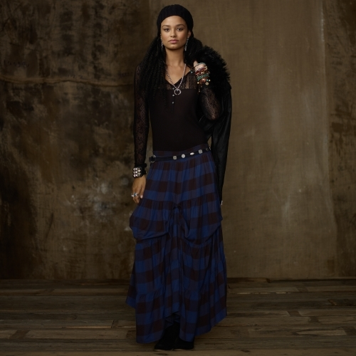Denim & Supply Plaid Tie-Up Gypsy Skirt