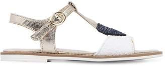 MonnaLisa Metallic Faux Leather Sandals