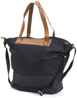 Upcycled Demi Tote With Leather Details