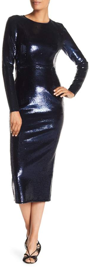 Long Sleeve Crewneck Sequin Dress