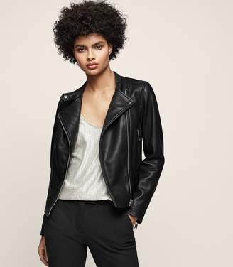 Reiss LETTY COLLARLESS LEATHER BIKER JACKET Black