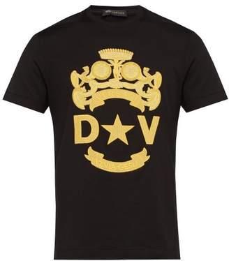 Versace Crest Logo Embroidered Cotton T Shirt - Mens - Black