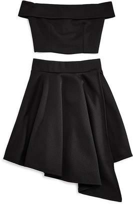 Miss Behave Girls' Off-the-Shoulder Top & Asymmetrical Skirt Set - Big Kid $79 thestylecure.com