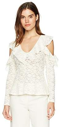 BCBGMAXAZRIA Women's Astril Cold-Shoulder Lace Top,XS