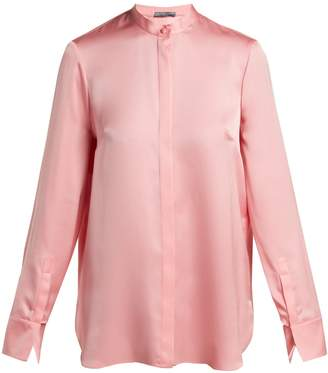 Alexander McQueen Silk-satin long-sleeve blouse
