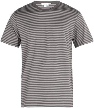 Sunspel Striped crew neck cotton T-shirt