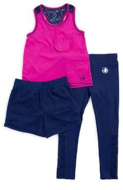 Body Glove Little Girls' Three-Piece Lace-Trim Activewear Set