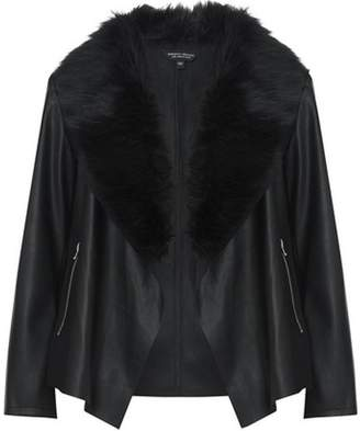 Dorothy Perkins Womens **DP Curve Black Faux Fur Collar Waterfall Jacket