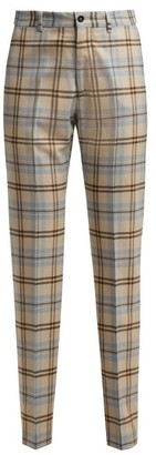 BEIGE Connolly - High Rise Checked Wool Blend Trousers - Womens Multi
