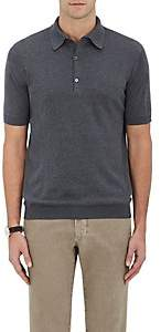 John Smedley Men's Cotton Polo Shirt - Charcoal