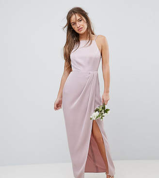 Asos DESIGN Petite Bridesmaid drape front strappy back maxi dress