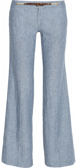 MICHAEL Michael Kors Linen and cotton-blend chambray pants