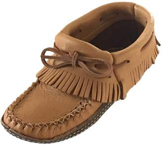 Bastien Industries Women's Fringe Moose Hide Leather with Heavy Oil Tan Sole Earthing Grounding Ankle Moccasins