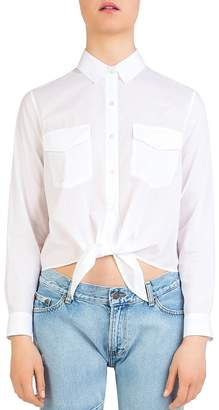 The Kooples Cropped Tie-Front Shirt