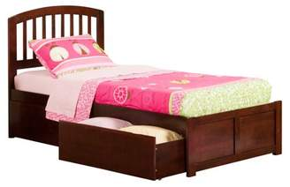 Richmond Atlantic Furniture Platform Bed with Flat Panel Foot Board and 2 Urban Bed Drawers in, Multiple Colors and Sizes